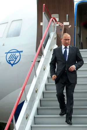 Russian President Vladimir Putin arrives in Voronezh, Russia, on Tuesday for a meeting with state officials. Putin said he has ordered the government to develop measures in response to Western sanctions.