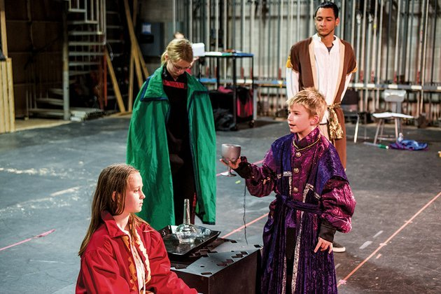 anna-mclearn-from-left-sarah-wyatt-jared-humphrey-and-marcus-hunter-rehearse-a-scene-from-macbeth-the-asu-beebe-star-childrens-theater-will-present-the-play-friday-evening-in-honor-of-ruth-l-couch
