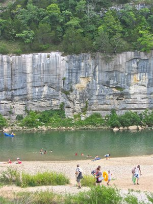 Swimming and canoeing are summer pleasures at Buffalo Point, on the lower stretch of Buffalo National River as it nears the White River.