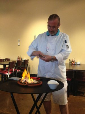 Dinner and a show: Chef Jimmi sets the Fundido appetizer aflame at Ray's More Than Mex.
