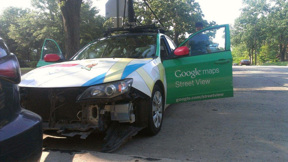 Google Street View car crashes in LR on