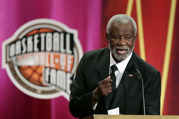 Former University of Arkansas head coach Nolan Richardson addresses a gathering during his enshrinement ceremony for the Basketball Hall of Fame in Springfield, Mass., Friday, Aug. 8, 2014. Richardson led Arkansas to the 1994 National Championship and to three Final Four appearances in 1990. 1994 and 1995. (AP Photo/Charles Krupa)