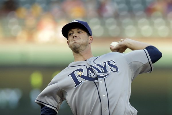 Tampa Bay Rays starting pitcher Drew Smyly delivers to the Texas Rangers in a baseball game, Monday, Aug. 11, 2014, in Arlington, Texas. (AP Photo/Tony Gutierrez)