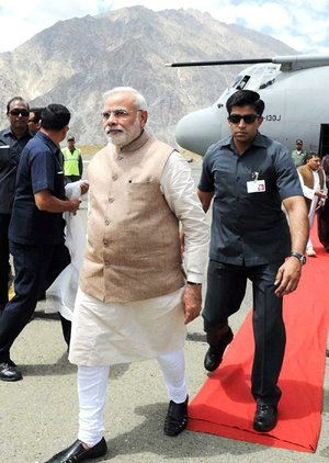 Indian Prime Minister Narendra Modi arrives Tuesday for a visit to Kargil in northern India near the Pakistani border.