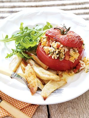 Roman Rice-Stuffed Tomatoes With Roasted Potatoes