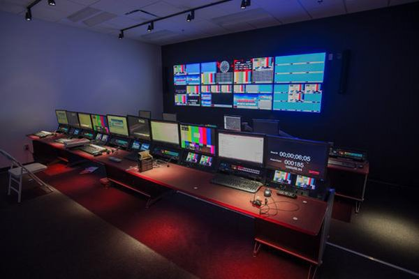 Here is a look inside Arkansas' SEC Network control room. (photo courtesy Mike Waddell)