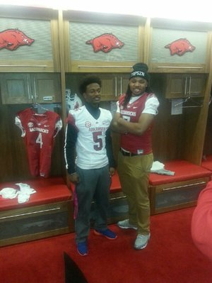 K.J. Hill and Will Gragg during an earlier visit to Arkansas.