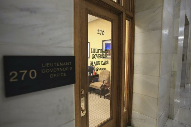 in-this-jan-31-file-photo-former-lt-gov-mark-darrs-name-is-pictured-on-the-door-of-the-now-vacant-office-at-the-capitol-two-state-senators-have-since-proposed-leading-an-effort-to-abolish-the-position-of-lieutenant-governor