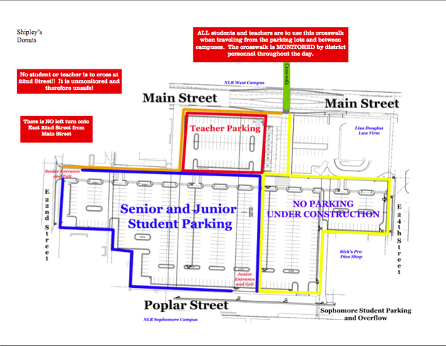 this-map-released-by-the-north-little-rock-school-district-shows-the-main-parking-lot-that-will-be-available-to-teachers-seniors-and-juniors-at-north-little-rock-high-school-west-campus-during-the-first-month-of-school-by-mid-september-the-yellow-area-will-become-available-and-all-lots-east-of-campus-are-expected-to-be-paved-and-painted-officials-said