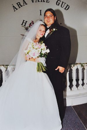 Molly and Chach Bursey on their wedding day, July 3, 1999