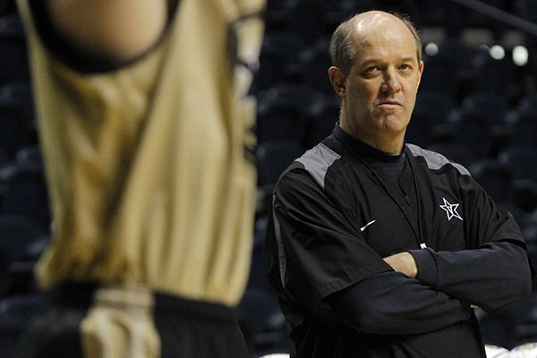 Vanderbilt coach Kevin Stallings watches a practice at Bridgestone Arena in Nashville, Tenn. on March 13, 2013.