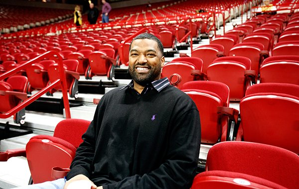 Former University of Arkansas standout Lee Mayberry before the Arkansas vs Michigan in Bud Walton Arena in Fayetteville on Saturday, Jan. 21, 2012.