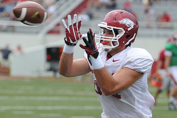 Arkansas sophomore tight end Hunter Henry makes a catch during practice Saturday, Aug. 16, 2014, at Razorback Stadium in Fayetteville.