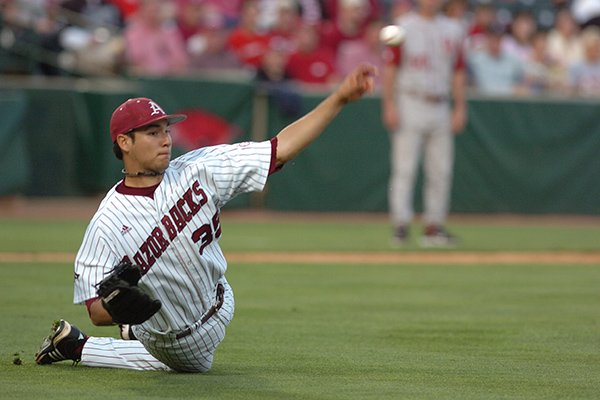 Arkansas pitcher Christian Kowalchuk (35) tosses the ball to first after slipping while scooping up a bunt against Oklahoma on Tuesday, April 28, 2009 at Baum Stadium.