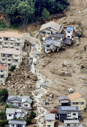 An aerial view shows the destruction from one landslide Wednesday in Hiroshima in western Japan.