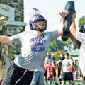 Staff Photo DAVID GOTTSCHALK Jackson McNeal, Fayetteville High School offensive lineman, during pra...