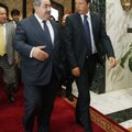 Iraq's Foreign Minister Hoshiyar Zebari, left, walks with Italy's Prime Minister Matteo Renzi in Bag...