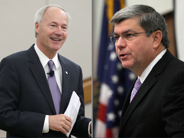 republican-candidate-for-arkansas-governor-asa-hutchinson-and-democratic-candidate-mike-ross-speak-to-members-of-the-delta-regional-authority-in-pine-bluff-on-wednesday-aug-13-2014