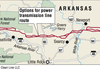 A map showing the options for power transmission line route through Arkansas.