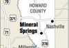 A map showing the location of Mineral Springs, Arkansas.