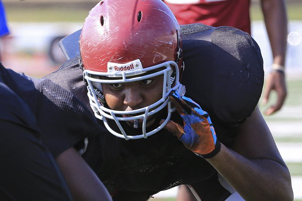 Defensive end John Tate practices Thursday afternoon at Pine Bluff high School.