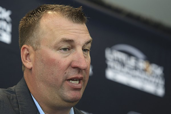 Arkansas football coach Bret Bielema answers questions for the media Tuesday, Aug. 19, 2014 before speaking at the opening week of the Little Rock Touchdown Club.