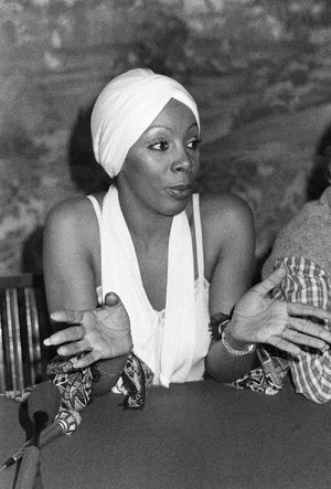 FILE - In this Oct. 13, 1977 file photo, Donna Summer speaks during a press conference in Rome. (AP Photo)
