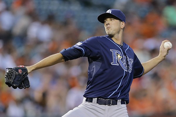 Tampa Bay Rays starting pitcher Drew Smyly throws to the Baltimore Orioles in the first inning of a baseball game, Wednesday, Aug. 27, 2014, in Baltimore. (AP Photo/Patrick Semansky)