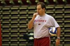 Arkansas volleyball coach Robert Pulliza watches a 2009 practice at Barnhill Arena in Fayetteville.