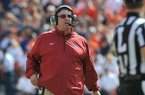 Arkansas coach Bret Bielema watches during the second quarter of the Razorbacks' game against Auburn on Saturday, Aug. 30, 2014 at Jordan-Hare Stadium in Auburn, Ala.