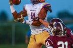 8/26/14Arkansas Democrat-Gazette/STEPHEN B. THORNTONDumas' Will Gragg pulls in a touchdown during a scrimmage game Tuesday at Carlisle High School.