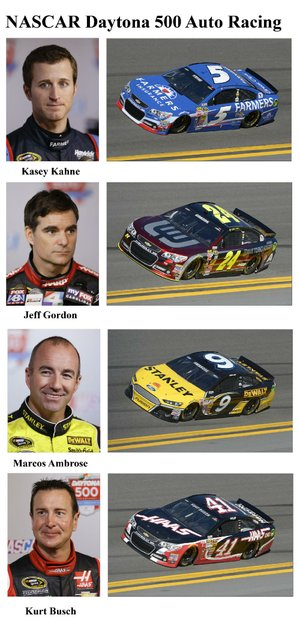 In these photos taken in February 2014, qualifying drivers and their cars in the starting field for Sunday's NASCAR Daytona 500 Sprint Cup Series auto race are shown at Daytona International Speedway in Daytona Beach, Fla. They are, from top, Kasey Kahne, Jeff Gordon, Marcos Ambrose, and Kurt Busch. (AP Photo)