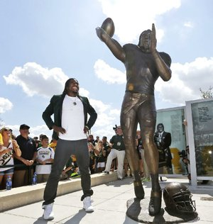 A statue of former Baylor quarterback Robert Griffin III was unveiled Saturday at McLane Stadium in Waco, Texas. There has been no confirmation of the rumor that the statue later juked several SMU defenders.