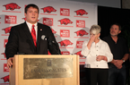 Senior Luke Charpentier speaks Monday after accepting the first scholarship from the Garrett Uekman Foundation while Ueckman's parents look on.
