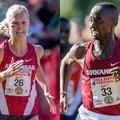 South African Dominique Scott (left), a member of Lance Harter's women's team, and Kenyan Stanley Ke...