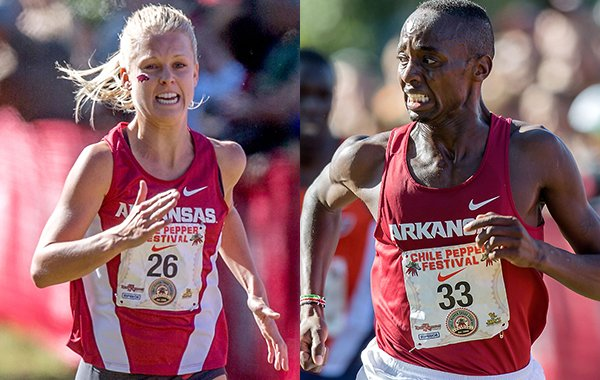 South African Dominique Scott (left), a member of Lance Harter's women's team, and Kenyan Stanley Kebenei, a member of Chris Bucknam's team, won the individual titles at the NCAA South Central Regional cross country meet for Arkansas.