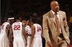 Arkansas coach Mike Anderson speaks to his bench against Iona during the second half of the Razorbacks' 94-77 win Sunday, Nov. 30, 2014, in Bud Walton Arena in Fayetteville.