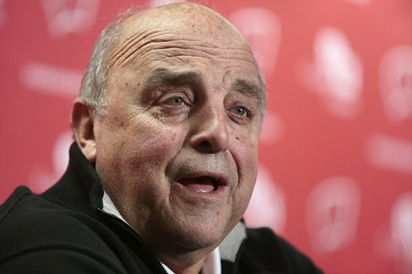 Wisconsin athletic director Barry Alvarez speaks during a news conference in the UW Field House media room near Camp Randall Stadium in Madison, Wis., Wednesday, Dec. 10, 2014. Head football coach Gary Andersen announced Wednesday he was leaving to become the coach at Oregon State. (AP Photo/Wisconsin State Journal, M.P. King)