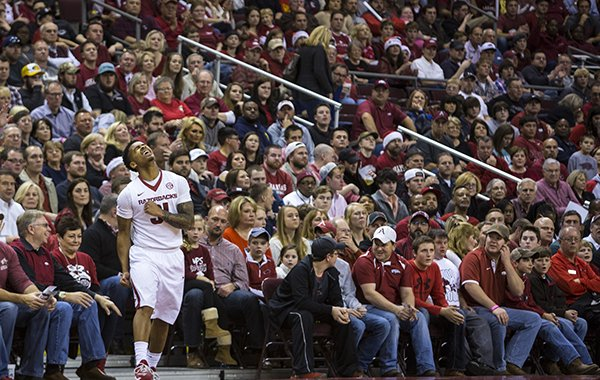 Arkansas guard Anton Beard reacts to a call during the second half of a game against Southeast Missouri State on Saturday, Dec. 20, 2014 at Verizon Arena in North Little Rock.