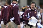 Central Michigan coach Dan Enos reacts to a play during a game against Navy on Saturday, Nov. 13, 2010, in Annapolis, Md. (AP Photo/Gail Burton)