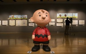 "Arkansas Democrat-Gazette/MELISSA SUE GERRITS - 01/16/2015 - Items from the Charles M. Schultz museum in Santa Rosa, California, form the exhibits ""Pigskin in Peanuts"" and ""Heartbreak in Peanuts"" at the Clinton Presidential Center January 16, 2015. The exhibit will be open till April 5, 2015."