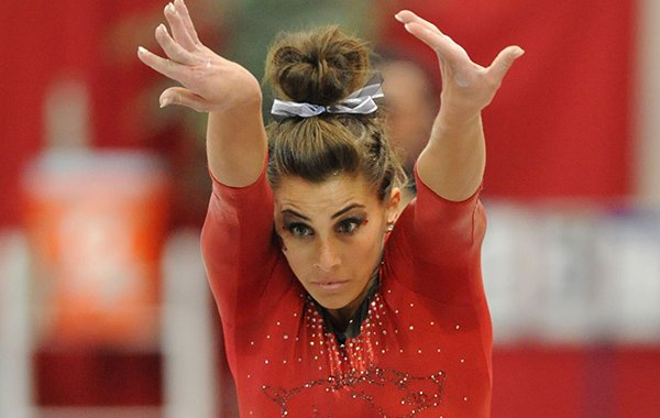 Paige Zaziski of Arkansas competes in the vault portion of the Razorbacks' meet with Alabama Friday, Jan. 16, 2015, in Barnhill Arena in Fayetteville.