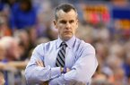 Florida coach Billy Donovan watches during the first half of his team's NCAA college basketball game against Mississippi State on Saturday, Jan. 10, 2015, in Gainesville, Fla. Florida defeated Mississippi State 72-47. (AP Photo/The Gainesville Sun, Matt Stamey)