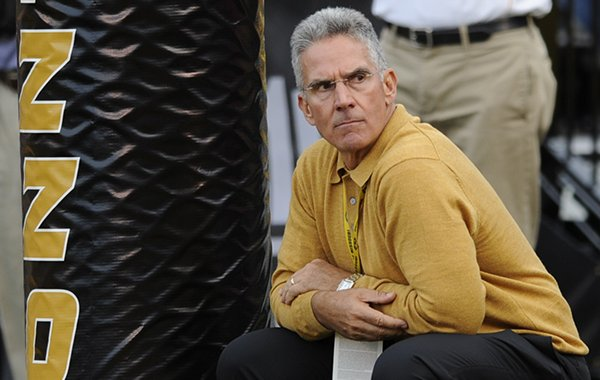 In this Sept. 15, 2012, file photo, Missouri athletic director Mike Alden watches during the first quarter of an NCAA college football game between Missouri and Arizona State in Columbia, Mo. (AP Photo/L.G. Patterson, File)