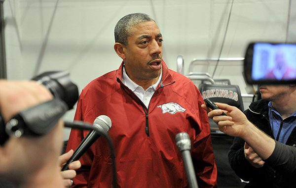Arkansas linebackers coach Vernon Hargreaves speaks to reporters on Wednesday, Feb. 4, 2015, at the Fred W. Smith Center in Fayetteville.