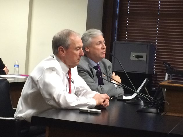 arkansas-department-of-education-commissioner-tony-wood-and-rep-mark-lowery-answer-questions-about-a-bill-that-would-ease-some-of-the-requirements-for-a-new-school-district-to-separate-from-an-existing-one
