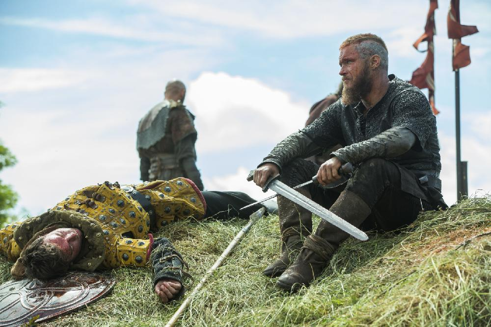 Ragnar Lothbrok (Travis Fimmel) surveys the aftermath of ...