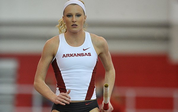 Arkansas pole vaulter Sandi Morris warms up during the Razorback Invitational on Friday, Jan. 30, 2015, at Randal Tyson Track Center in Fayetteville.