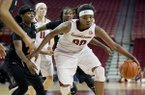 Arkansas forward Jessica Jackson, right, drives to the basket past South Carolina defender Khadijah Sessions, left, during the second half of an NCAA college basketball game Thursday, Feb. 19, 2015, in Fayetteville, Ark. South Carolina defeated Arkansas 73-56. (AP Photo/Gareth Patterson)