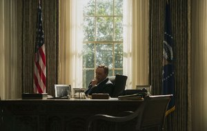 President Frank Underwood, played by Kevin Spacey, contemplates his next move from the Oval Office on House of Cards.